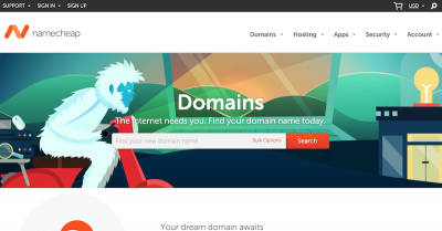 Here's the first screen you see at Namecheap
