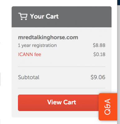 successfully added to the Namecheap shopping cart