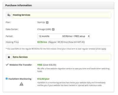 enter information about your hosting plan