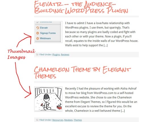 thumbnail images on blog page