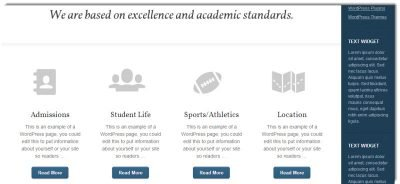 Featured area, Education Theme Home Page