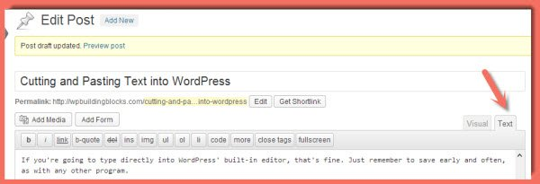 WordPress Text Editor - use this to paste test into WordPress