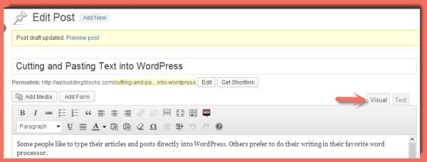 WordPress Visual Editor - don't use this to paste text into WordPress