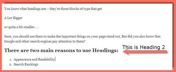 WordPress Headings