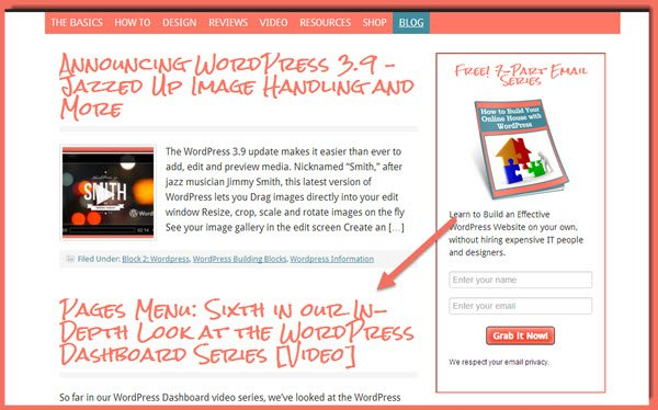 image of blog index