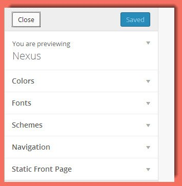 picture of Customize options for Nexus theme