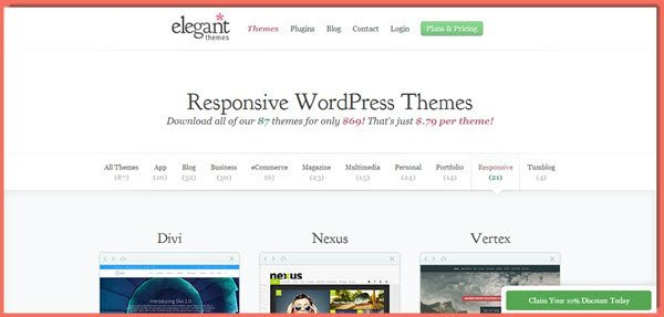 image of Elegant Themes responsive themes page