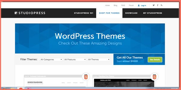 image of StudioPress Themes page