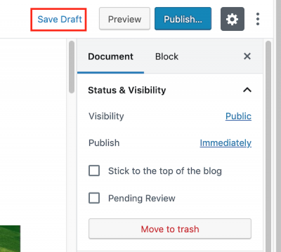 image of the Save Draft link