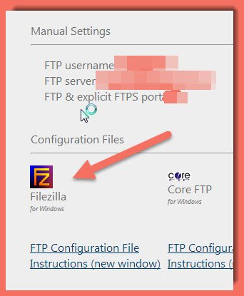 image of FTP configuration information