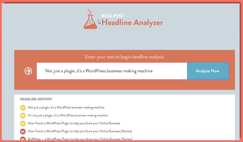 image of the Headline Analysis screen