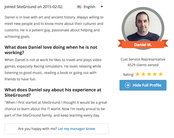 Siteground rep Daniel