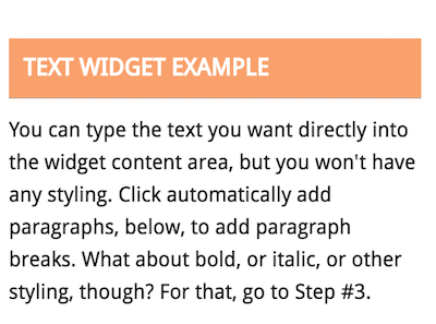 Text Widget example