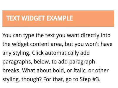 Text Widget example