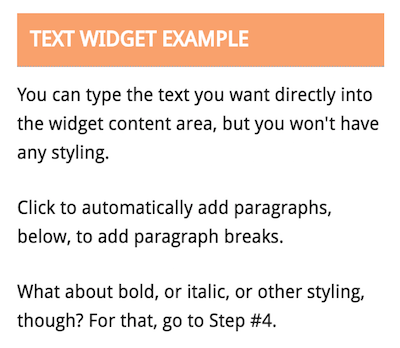 Text widget with paragraphs