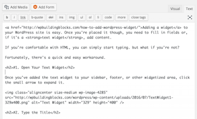 content in the WordPress text editor
