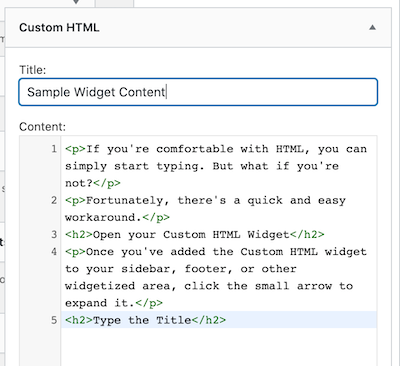 sample widget content