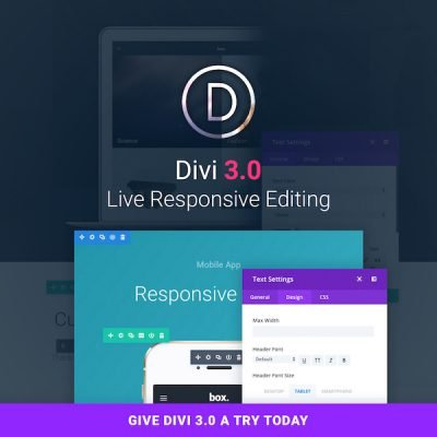 Divi 3.0 responsive, front-end editing