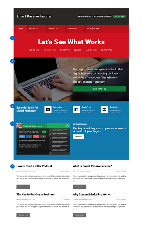 Smart Passive Income Pro front page includes 5 flexible widgetized areas