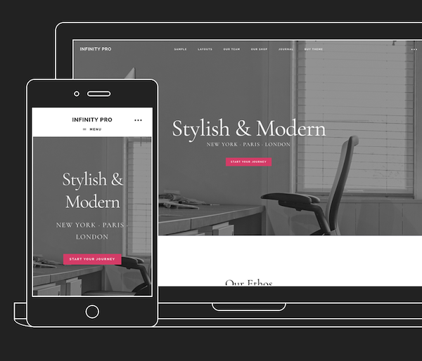 the Infinity Pro theme is stylish and modern