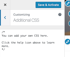 WordPress 4.7 CSS customizer