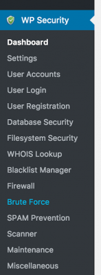 All in one WP security menu