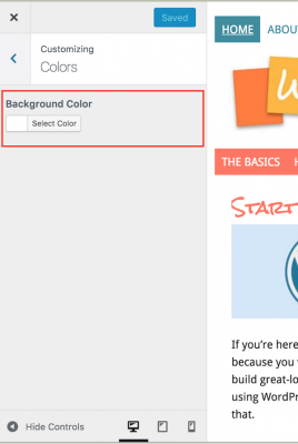 color customizer - background color