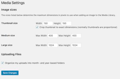 image sizes in WordPress media settings