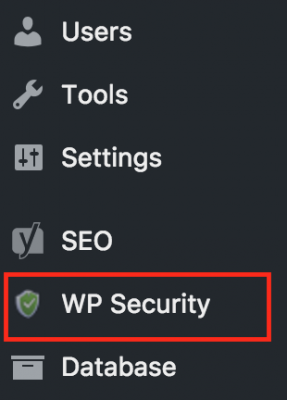 All in One WP Security plugin menu