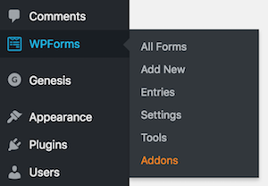 Add a new form from the Dashboard menu