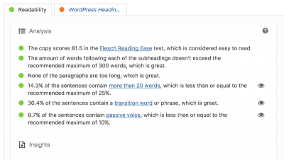 Yoast SEO readability