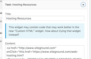 this is how the old text widget with html now looks in WordPress 8.1