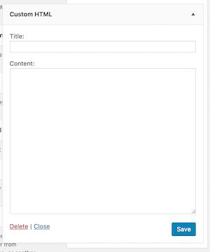 new custom html widget in WordPress 8.1