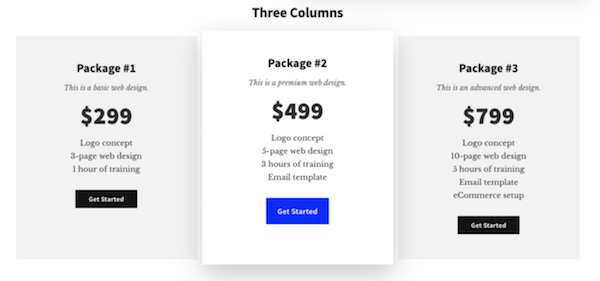 Authority Pro theme pricing template