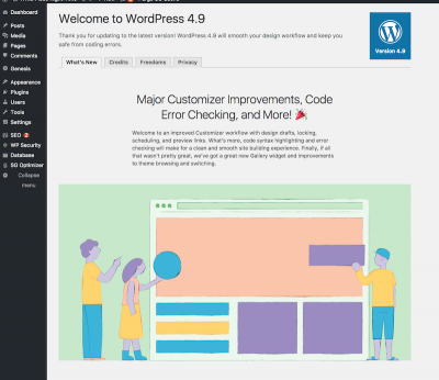 WordPress 4.9 welcome screen