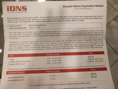 here's an example of a domain name registration scam
