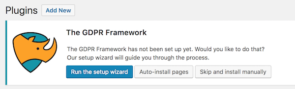 The GDPR Framework setup wizard