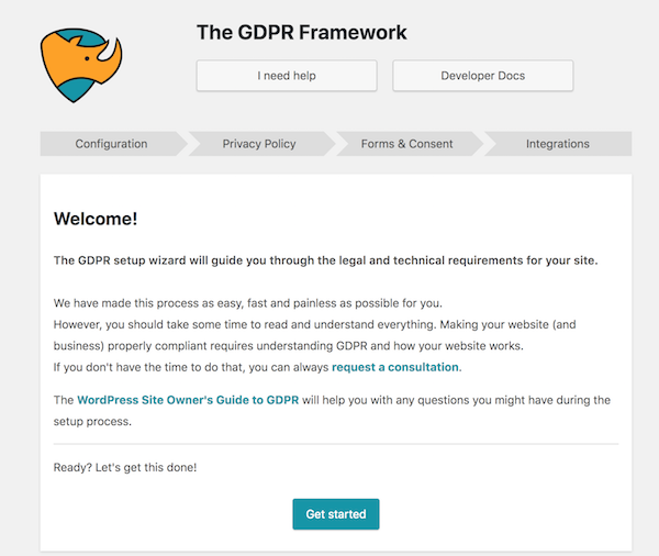 The GDPR Framework wizard welcome screen