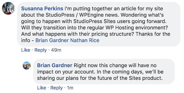 Brian Gardner's Facebook statement on future of StudioPress Sites
