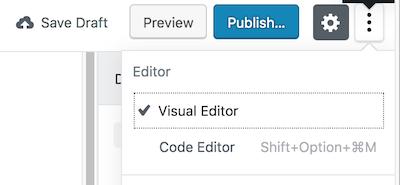 Gutenberg WordPress editor code editor