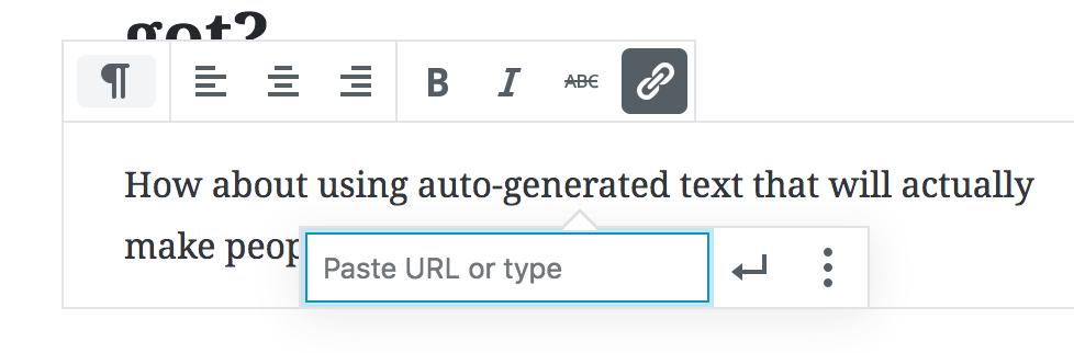 Gutenberg WordPress editor link editor