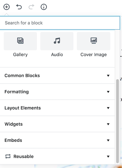 Gutenberg WordPress editor reusable blocks