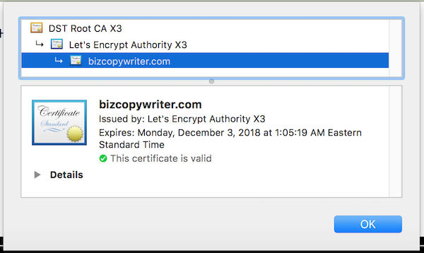 check your SSL certificate expiration date