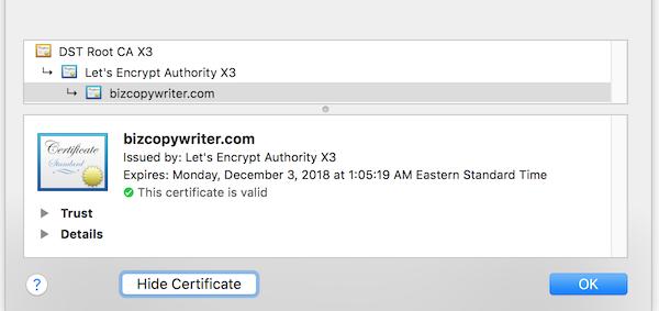 check your SSL certificate expiration date in Safari