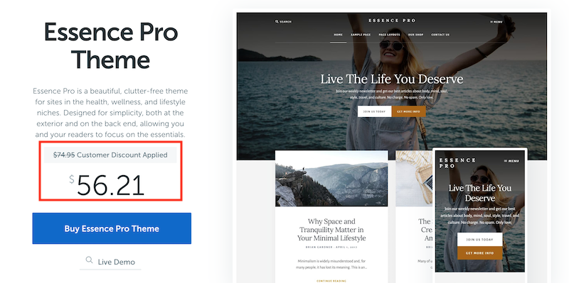 Returning customers get a significant discount on additional StudioPress theme purchases