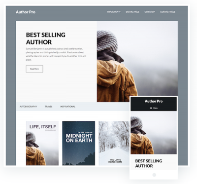 Author Pro theme from StudioPress is an excellent choice for displaying your book titles