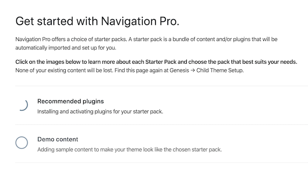 Instructions in Navigation Pro for starter layout packs