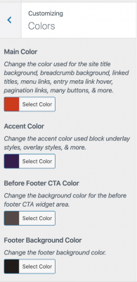 color customizer in Navigation Pro theme