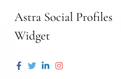 Here's what the Astra Social Profiles widget looks like.