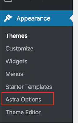 Note the new Astra Options menu in the WordPress Dashboard / Appearance.